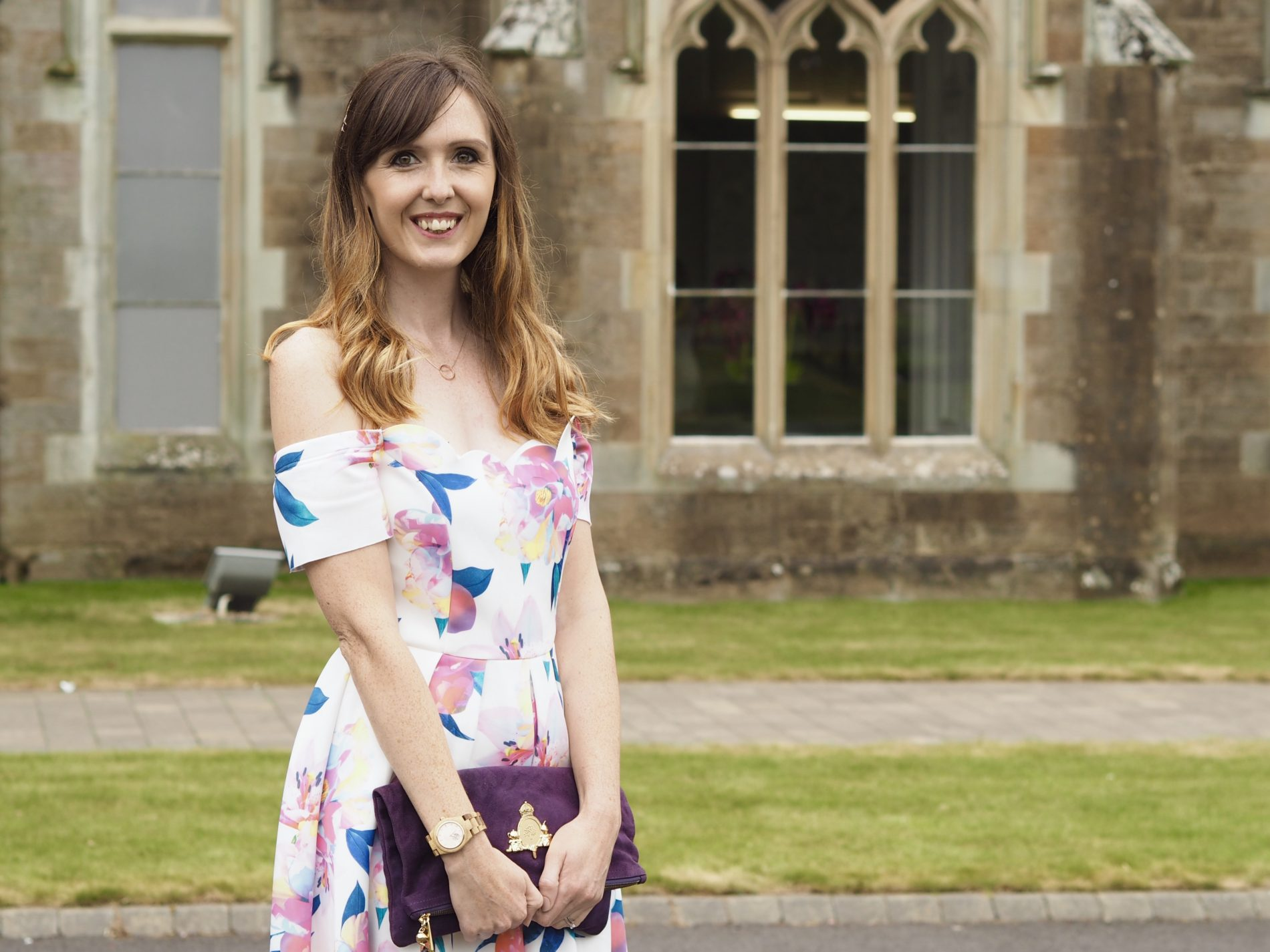 Wedding guest OOTD: Scallop floral prom dress from ASOS