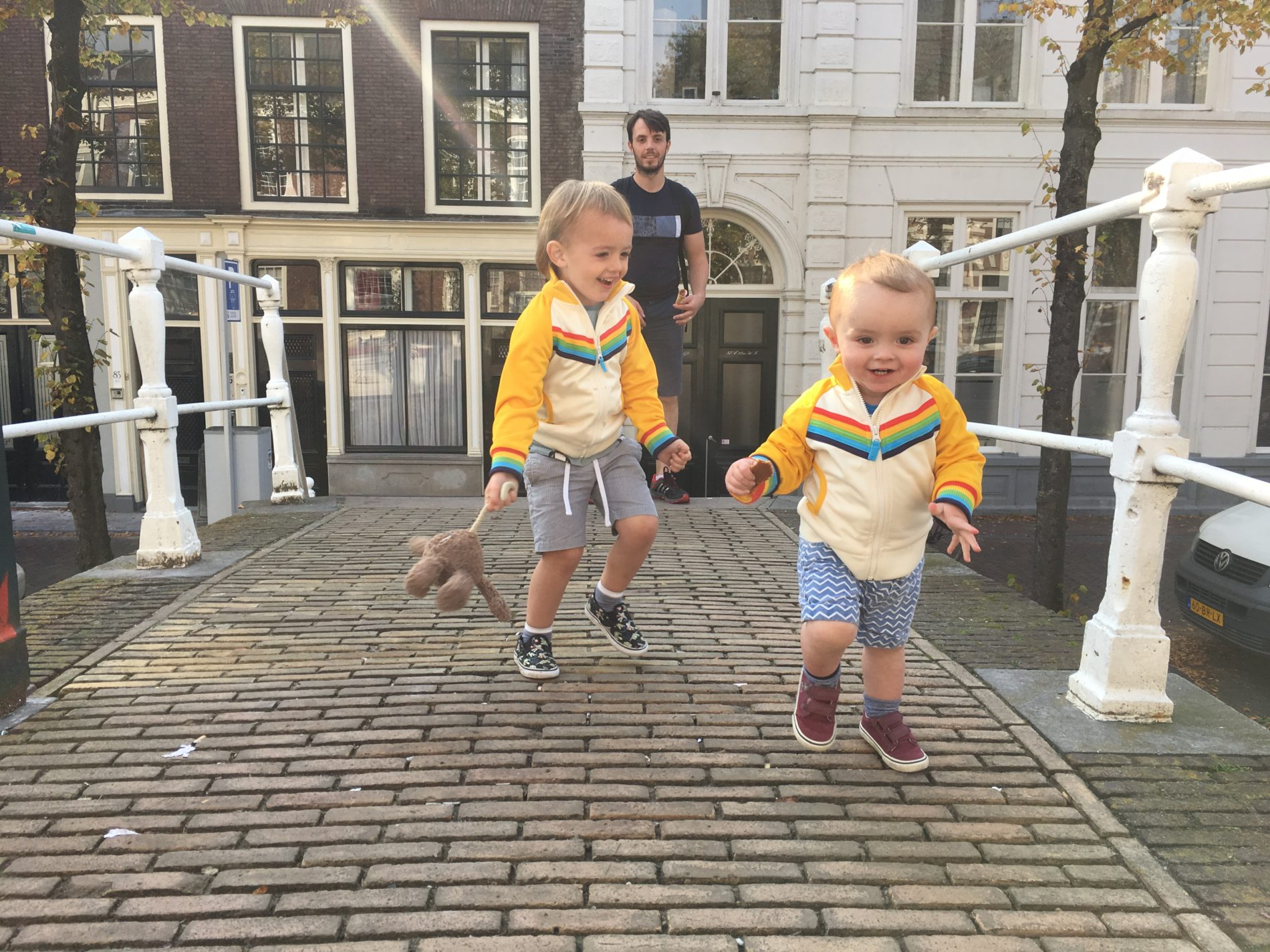 What the boys wore: Twinning in Little Bird by Jools rainbow jackets