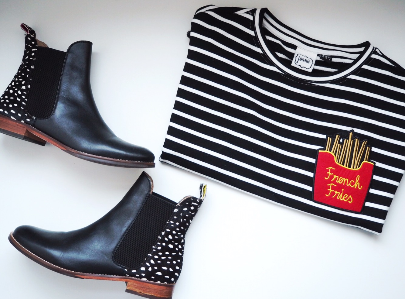 OOTD: Monochrome stripes and Joules boots of dreams